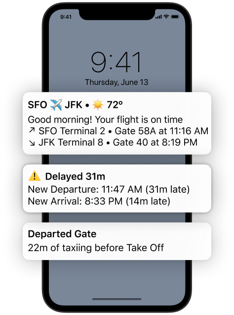 Screenshot of Flighty's Push Notifications